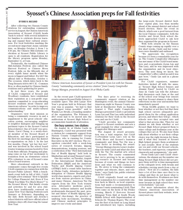 Syosset Tribune 090117 article